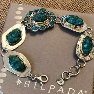 New Silpada .925 Sterling Brass Turquoise Bracelet